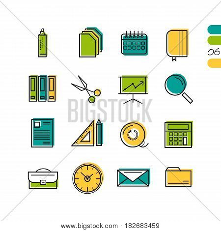 Sixteen vector colored thin line office icons. Use for web design. Paper and calendar, postal envelope and folder with files. The sixth series of symbols