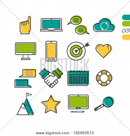 Vector colored thin line computer icons. Use for web design. Gadgets, hands, target and online storage cloud isolated on white. The third series of symbols