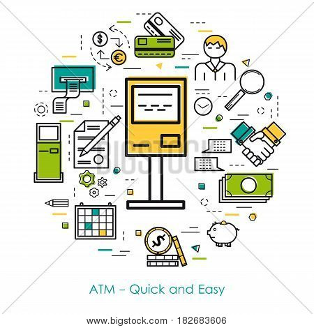 Vector thin line concept of quick and easy atm transaction in modern linear style. Green, blue and yellow colors. Money and coin, atm terminal and banking equipment