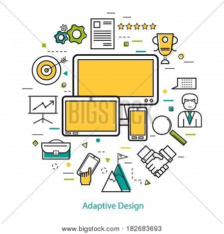 Vector Adaptive design concept - Round Concept in Thin Line Art Style. Smart phone, computer monitor and tablet and development business icons