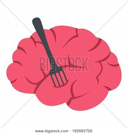 Pink brain with fork icon flat isolated on white background vector illustration