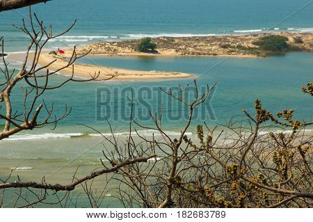 Shiroda Beach In The State Of Maharashtra, India. View From Redi Fort