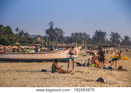 Goa, India - March 1: People On Arambol Beach On March 1, 2017, Goa, India