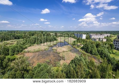 Aerial view of Skrunda ghost town former USSR military base in Lativa