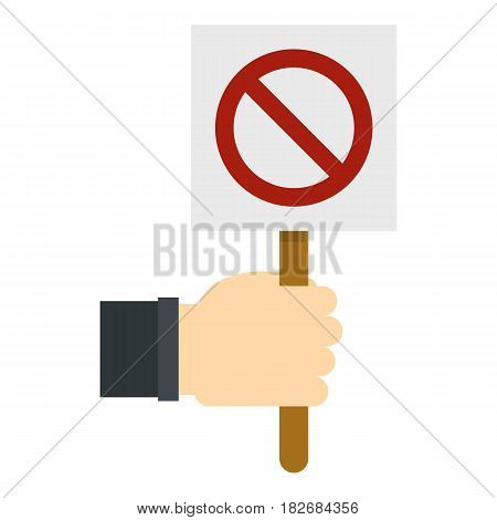 Hand holding stop sign icon flat isolated on white background vector illustration
