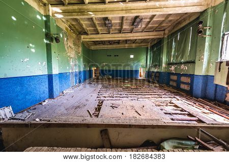 Gymnasium hall in officers club of Skrunda Soviet military ghost town in Lativa
