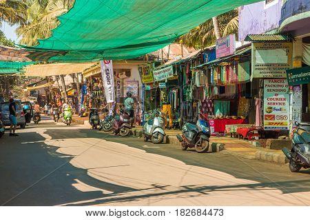 Goa, India - March 1: Main Road Of Arambol On March 1, 2017, Goa, India