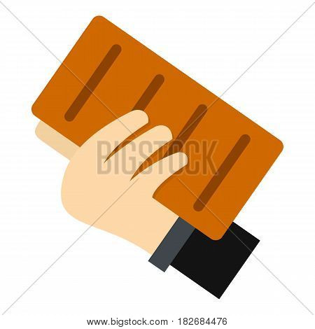 Hand holding a brick icon flat isolated on white background vector illustration