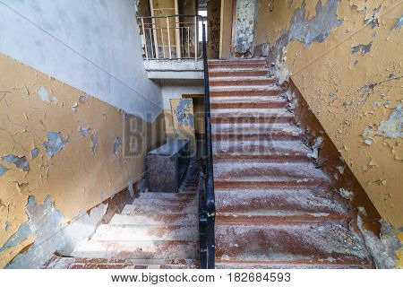 Interior of command headquarters in Skrunda Soviet military ghost town in Lativa