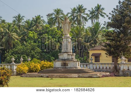Sacred Heart Of Jesus, Statue At The Yard Of St. Catherine Cathedral,  Old Goa, India