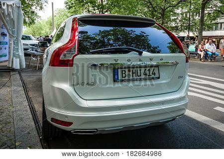 BERLIN - JUNE 05 2016: Mid-size luxury crossover SUV Volvo XC90. Rear view. Classic Days Berlin 2016.