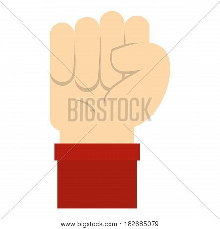 Raised up clenched male fist icon flat isolated on white background vector illustration