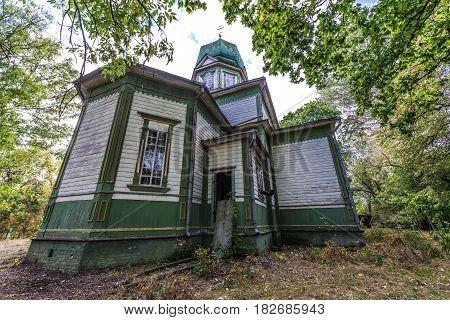 Orthodox church in Krasne deserted village of Chernobyl Exclusion Zone Ukraine