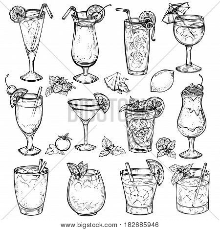 Sketch cocktails, alcohol drinks set. Hand drawn illustration. Martini, bloody mary, margarita, tequila, cosmopolitan, mojito, pina colada, whiskey, margarita, juice, milk shake and other.