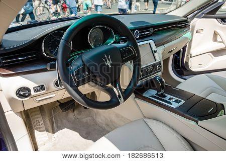 BERLIN - JUNE 05 2016: Interior of full-size luxury car Maserati Quattroporte VI since 2013. Classic Days Berlin 2016