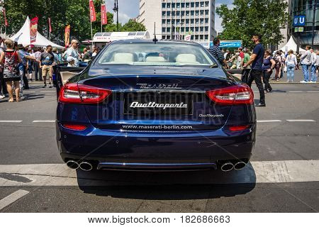 BERLIN - JUNE 05 2016: Full-size luxury car Maserati Quattroporte VI since 2013. Rear view. Classic Days Berlin 2016
