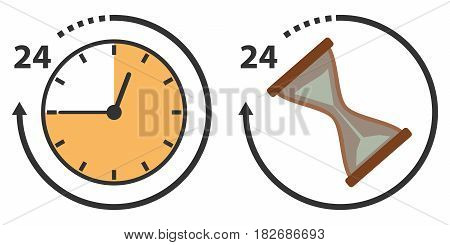 Time hours and hourglass. Flat design vector illustration vector.