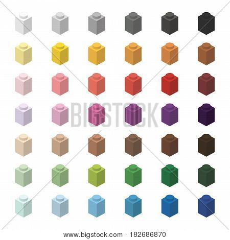 Children brick toy simple color spectrum bricks 1x1 high, isolated on white background