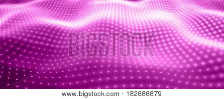Abstract vector background with violet neon lights forming wavy surface. Neon cyber surface flow. Smooth violet cyber relief from glowing particles. Elegant modern backdrop.