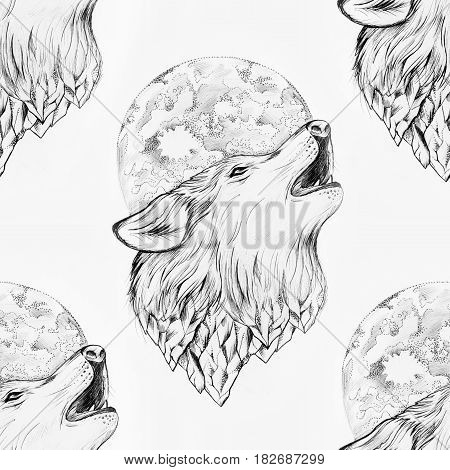Seamless drawing of a wolf howling at the moon on white background.