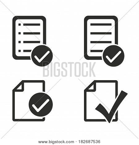 Checklist vector icons set. Black illustration isolated for graphic and web design.