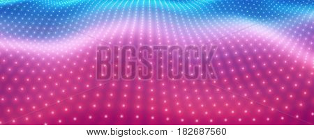 Abstract vector background with colorful neon lights forming wavy surface. Neon cyber surface flow. Smooth colorful cyber relief from glowing particles. Elegant modern backdrop.