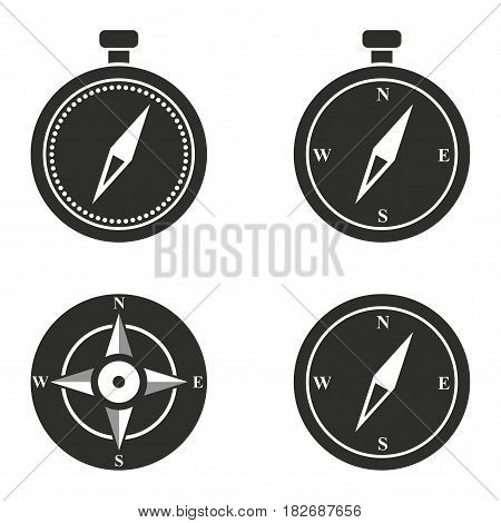 Compass vector icons set. Black illustration isolated for graphic and web design.