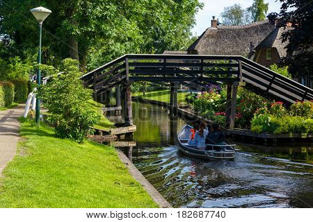 Sailboat In Giethoorn Canals