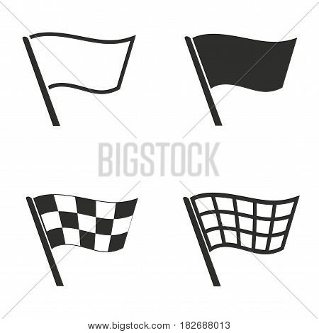 Flag vector icons set. Black illustration isolated for graphic and web design.