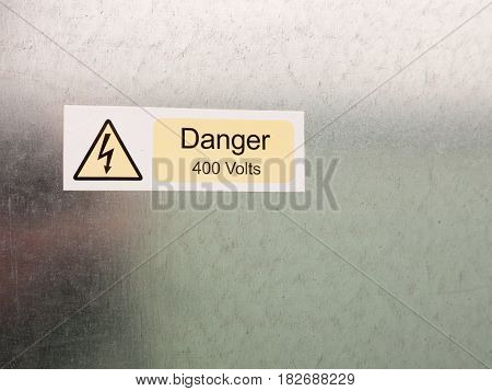 An Electric Bolt In Triangle White Yellow And Black Safety Caution Sign Warning Saying Danger 400 Vo