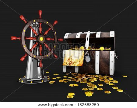 3D Illustration Of Ship Steering Wheel Whit Treasure Amd Map, Isolated Black