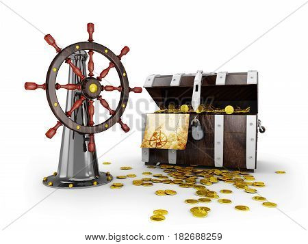 Ship Steering Wheel Whit Treasure Amd Map, 3D Illustration