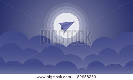 A paper airplane is flying in the night sky against the background of the moon above the clouds. Vector illustration.