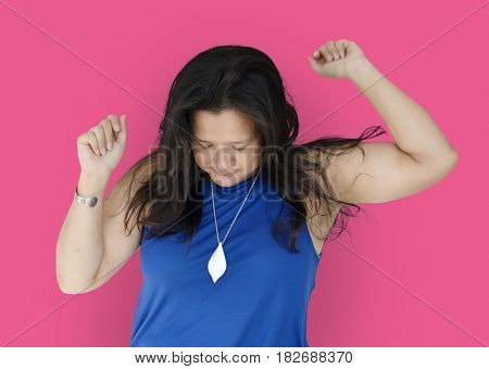 Casual chubby woman isolated portrait