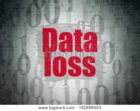 Information concept: Painted red text Data Loss on Digital Data Paper background with   Binary Code