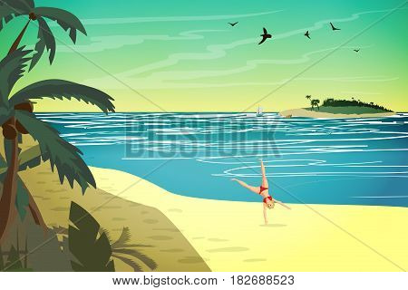 Young woman are engaged in sports on the beach. The girl is doing a somersault on the beach.Vector flat cartoon illustration