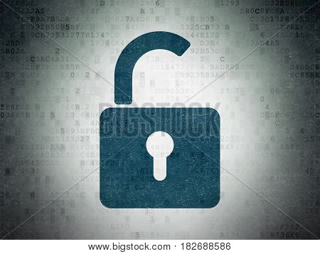 Information concept: Painted blue Opened Padlock icon on Digital Data Paper background