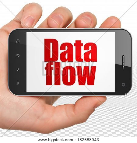 Data concept: Hand Holding Smartphone with red text Data Flow on display, 3D rendering