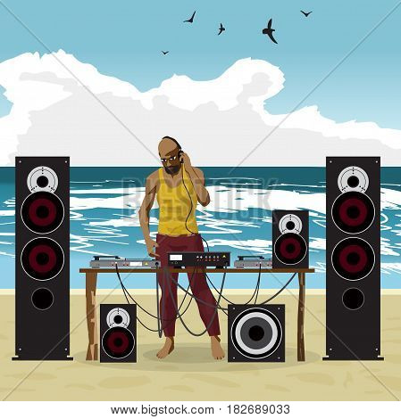 Summer party: DJ afro man and his equipment, dance music. Set of loudspeakers, subwoofer, turntables, a mixer for a disco on the beach. Vector flat cartoon illustration on a isolated background