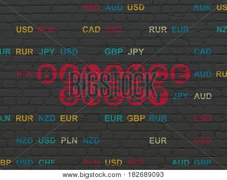 Currency concept: Painted red text Balance Sheet on Black Brick wall background with Currency
