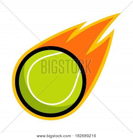 Tennis ball sport comet fire tail flying logo