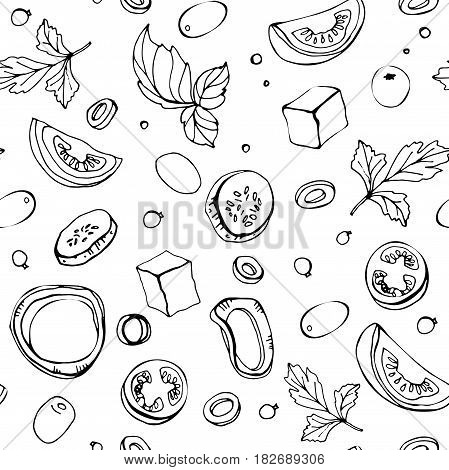 Seamless pattern. Greek salad ingredients. Color vector illustration of greens, cherry tomatoes, onions, feta and cucumber on a white background