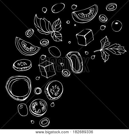 Hand drawn sketch of ingredients. Fresh greek salad  with greens, olives, cherry tomatoes, onions, cheese and cucumber. Organic food. Vector illustration on black background