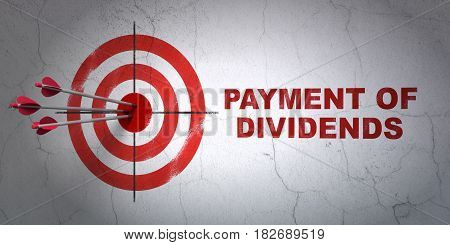 Success money concept: arrows hitting the center of target, Red Payment Of Dividends on wall background, 3D rendering