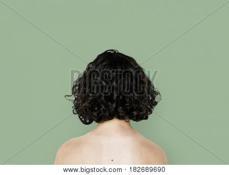 Young Adult Woman Back Topless Studio Portrait