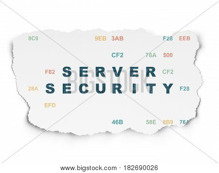 Privacy concept: Painted blue text Server Security on Torn Paper background with  Hexadecimal Code