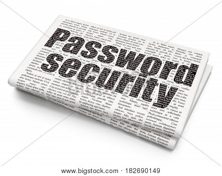 Protection concept: Pixelated black text Password Security on Newspaper background, 3D rendering