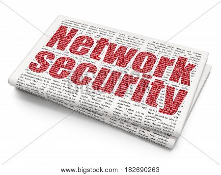Privacy concept: Pixelated red text Network Security on Newspaper background, 3D rendering