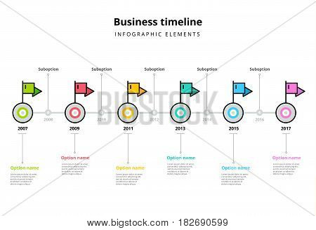Corporate Milestones Graph Elements. Business Timeline In Step Circles With Flag Pointers Infographi