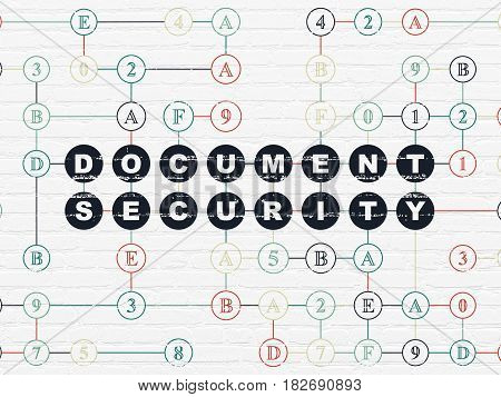 Privacy concept: Painted black text Document Security on White Brick wall background with Hexadecimal Code